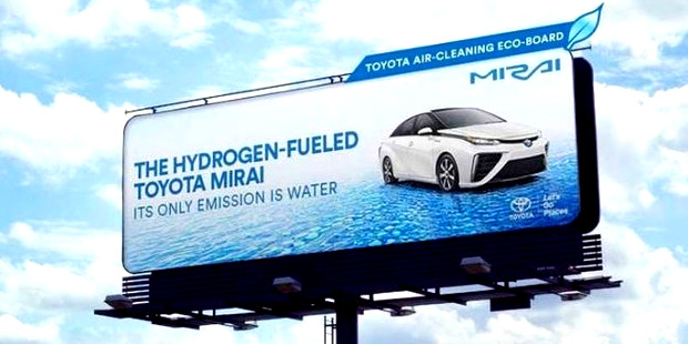 The Billboards For Toyota's Fuel Cell Mirai Eat Pollution